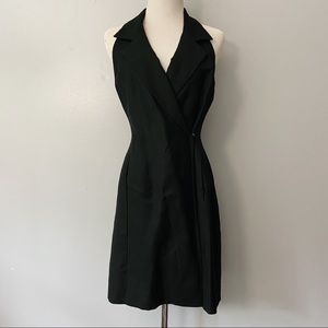 Laundry Black Linen Sleeveless Collared Wrap Dress